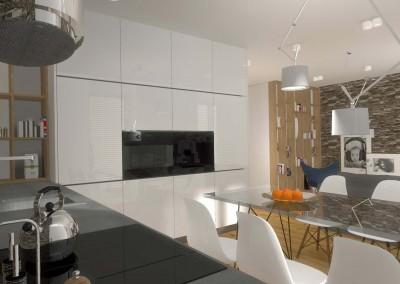 Projekt ściany w zabudowie we wnętrzu części kuchennej apartamentu.