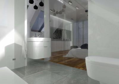 Łazienka została połączona z sypialnią poprzez szklane drzwi