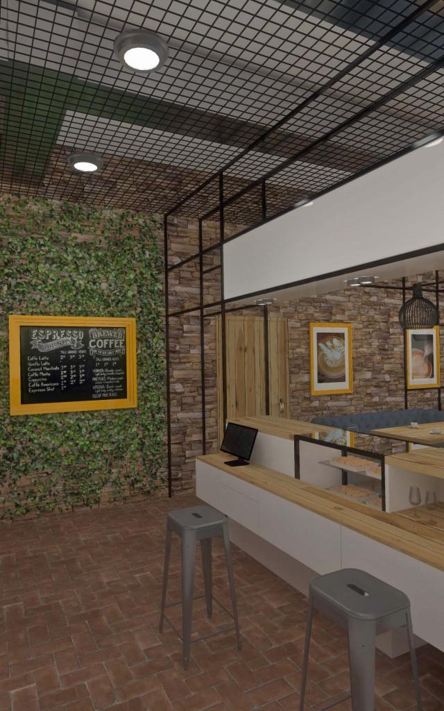 Aranżacja i projekt części wnętrza kawiarni - Mobiliani Design, Bydgoszcz.