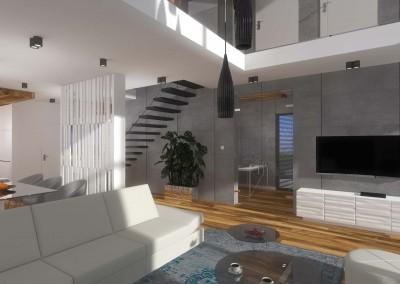 Na projekcie widać aranżacje salonu, części jadani i pokoju do pracy