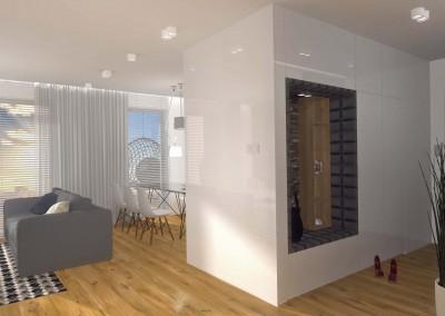 Projekt przedpokoju w jasnych odcinaniach dla nowoczesnego mieszkania.