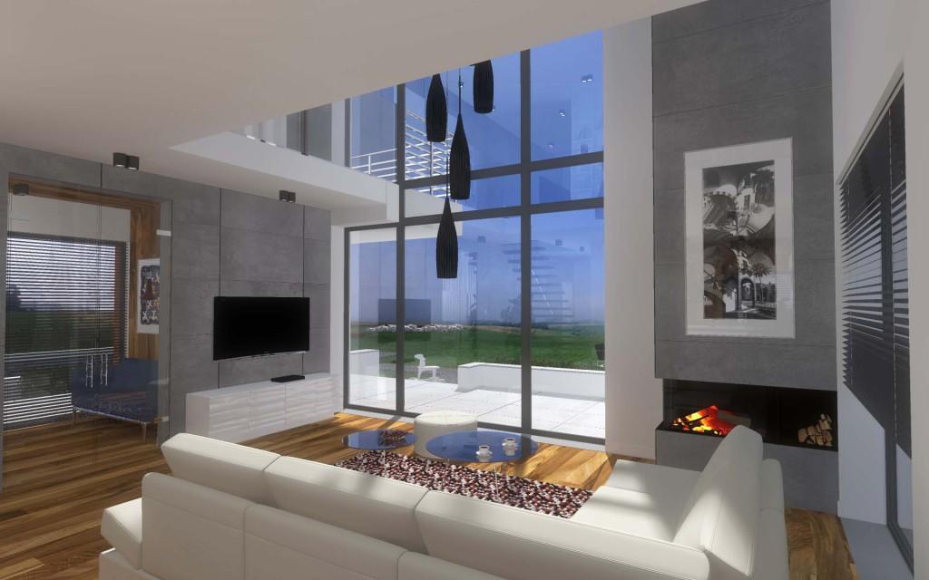 Wnętrze salonu wyposażone jest w sofę, kominek i duży płaski telewizor.
