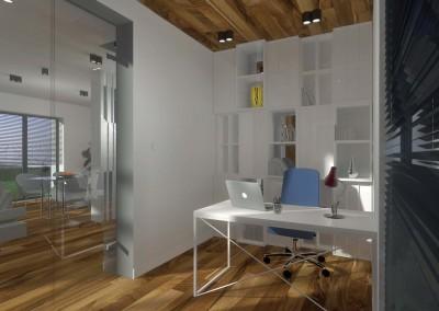 Wnętrze pokoju do pracy z białym biurkiem i zestawem zestawem ergonomicznych szafek