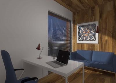 Aranżacja pokoju do pracy z niebieską kanapą i abstrakcyjnym obrazem na ścianie wykończonej drewenem.