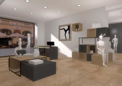 Aranżacja wnętrza otwartej przestrzeni sklepu z designerską odzieżą.