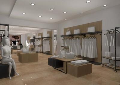 Projekt ściany z meblami idealnymi dla prezentacji odzieży.