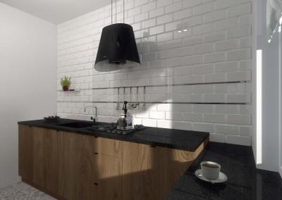 Wnętrze zdobi jasna ściana z cegieł oraz czarna lampa zwisająca z sufitu
