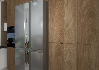 Aranżacja wnętrz kuchni w Bydgoszczy - drewniane szafki