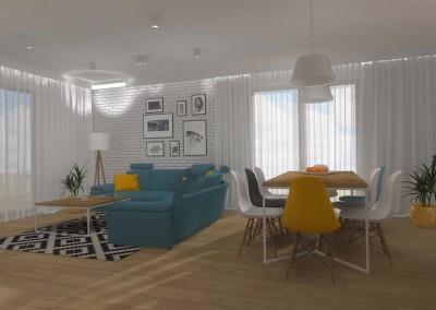 Projekt wnętrza bydgoskiego salonu otwartego na kuchnię oraz jadalnie w modnych kolorach.