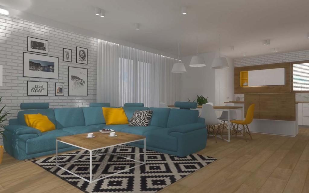 Projekt wnętrza salonu dla domu w Bydgoszczy.