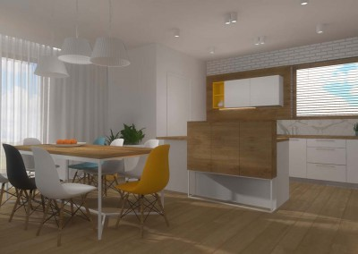 Projekt salonu z jadalnią  oraz częścią dzienną domu.