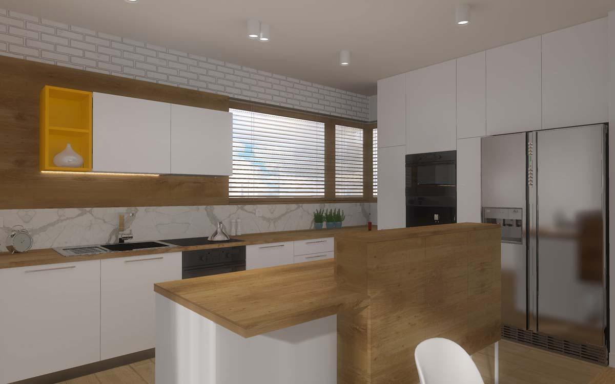 Aranżacja Wnętrza Przestronnego Salonu Z Otwartą Kuchnią W