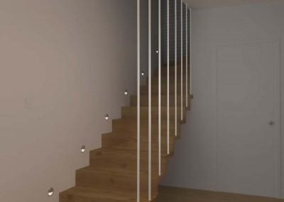 Projekt przedpokoju - schody prowadzące na piętro mieszkania w Bydgoszczy.