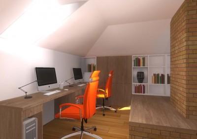 Wnętrze domowego biura w Bydgoszczy -projektu architekta wnętrz Mobiliani Design