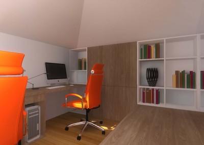 W projekcie wnętrza połączono  kontrastowy pomarańcz z naturalną barwą drewna