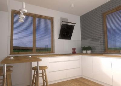 Wnętrze kuchni jest nowoczesne i minimalistyczne, zachowuje jednak swój styl