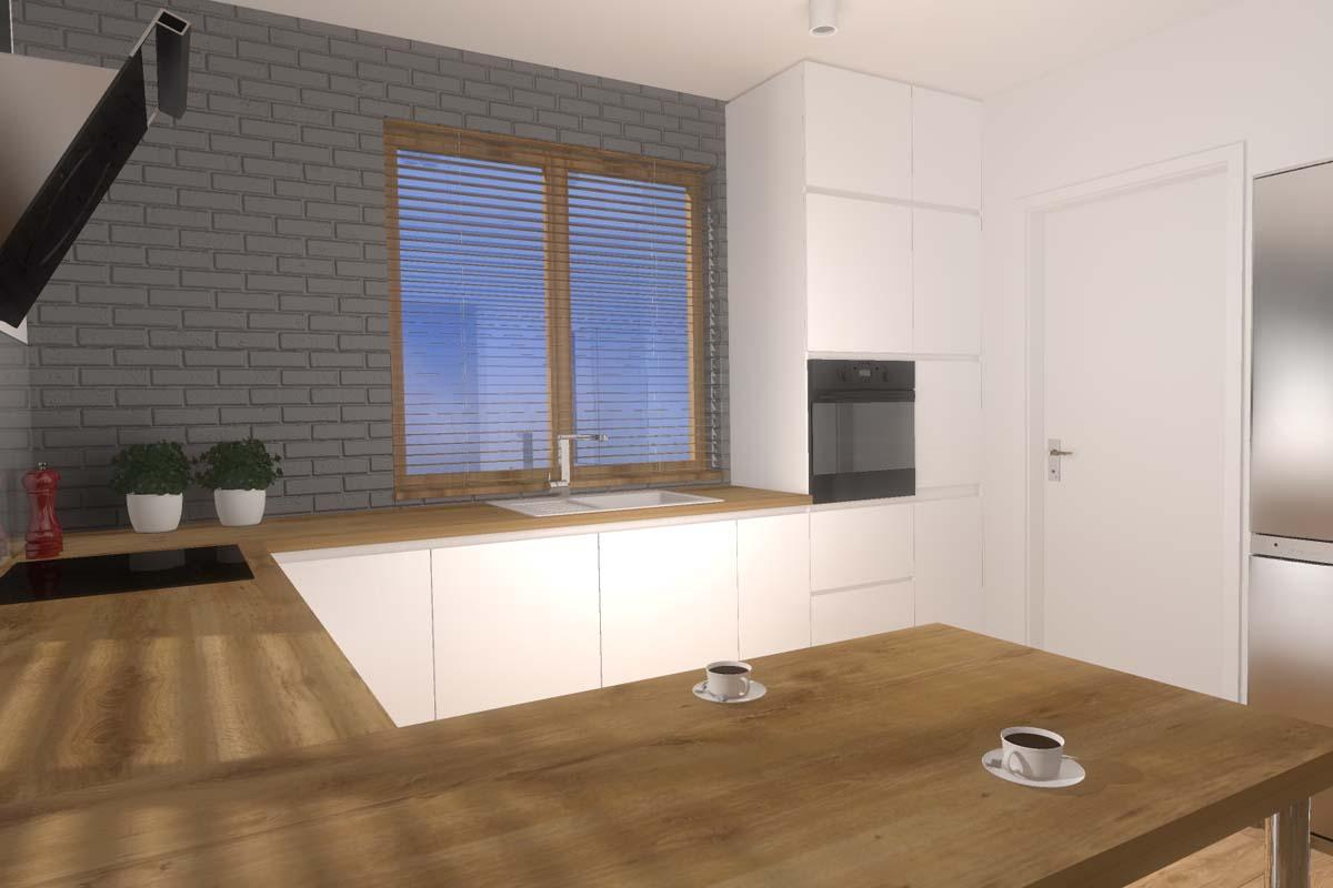 Projekt minimalistycznej kuchni z przewagą bieli i dodatkiem naturalnego drewna