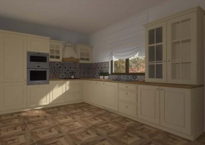 Projekt wnętrza kuchni w tradycyjnym, klasycznym stylu