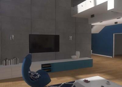 Ściana telewizyjna w nowoczesnym wnętrzu domu.