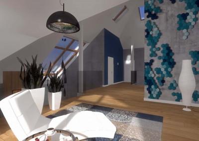 Wnętrze pokoju stworzone przez profesjonalnego architekta wnętrz z Bydgoszczy.