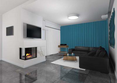 Projekt wnętrza z podłogą w szarej tonacji kolorystycznej.