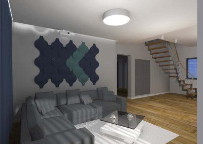 Projekt salonu z narożnikiem od Mobiliani Design.