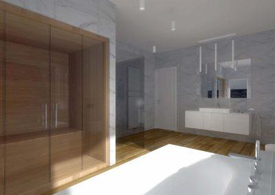 Wnętrza łazienki z prysznicem oraz wanną - projektowanie.