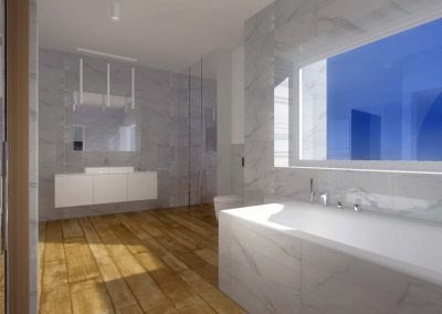 Projekt łazienki od Mobiliani Design - ściana z wanną.