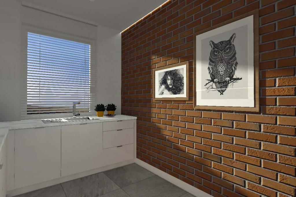 Oryginalna ściana z cegły w projekcie wnętrza kuchni.