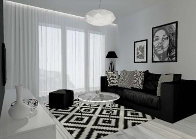 Salon z aneksem kuchennym dla mieszkania w osiedlu Arkada