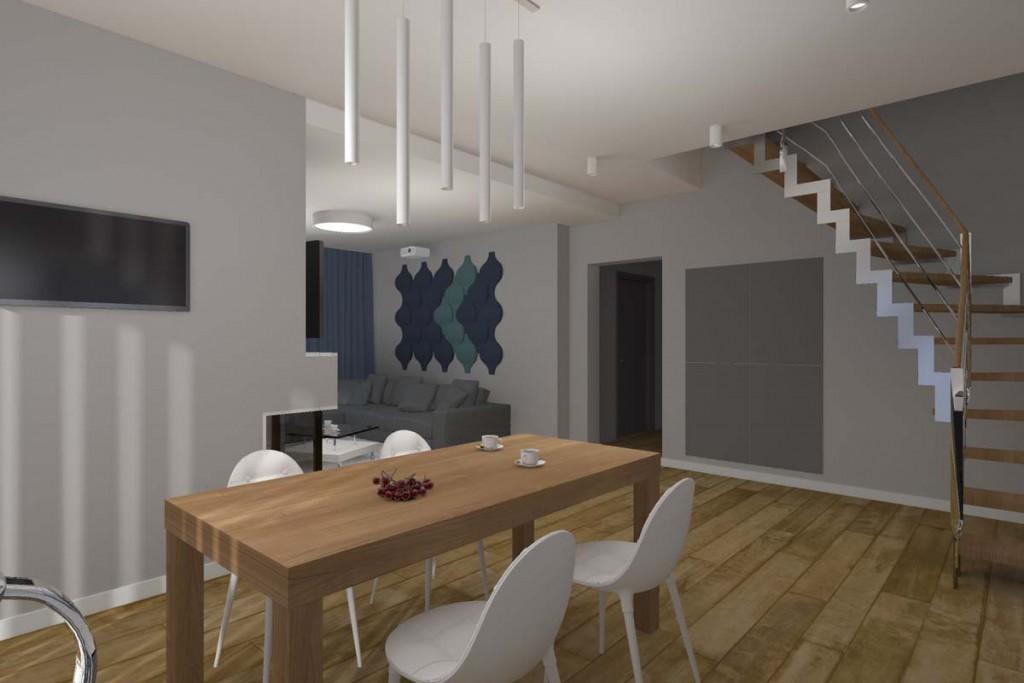 Wnętrze jadalni otwartej na salon w projekcie domu.