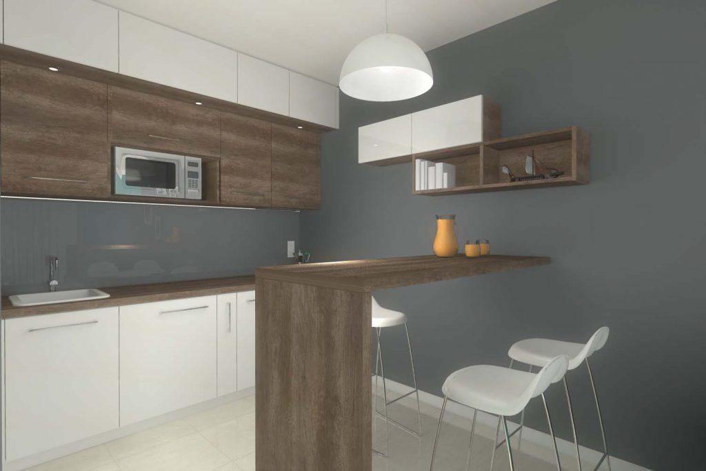 Wnętrze małej kuchni od Mobiliani Design z Bydgoszczy.