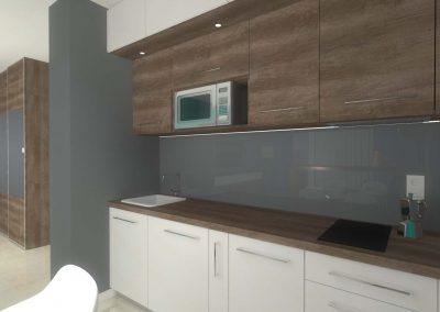 Projekt wnętrza aneksu kuchennego w małym mieszkaniu.