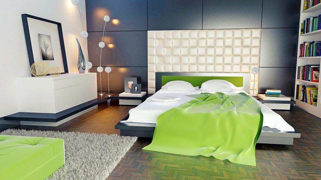 Projekt wnętrza sypialni z dużym, ozdobnym zagłówkiem.
