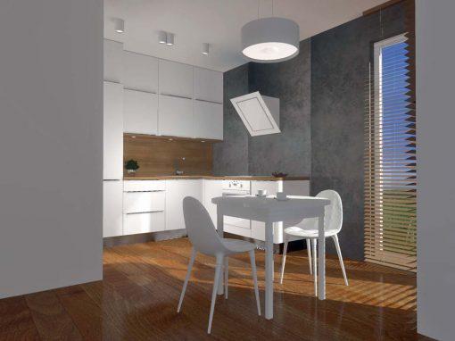 Projekt kuchni z betonową ścianą