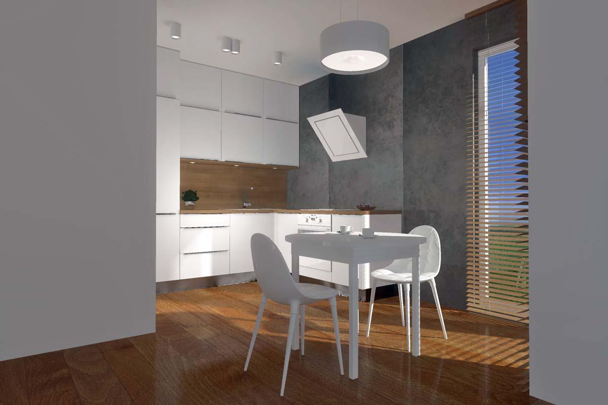 Projekt kuchni z betonową ścianą - Mobiliani Design Bydgoszcz