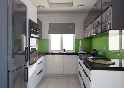 Kuchnia z akcentem zieleni i bieli.