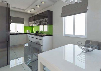 Nowoczesna kuchnia w projekcie wnętrza.