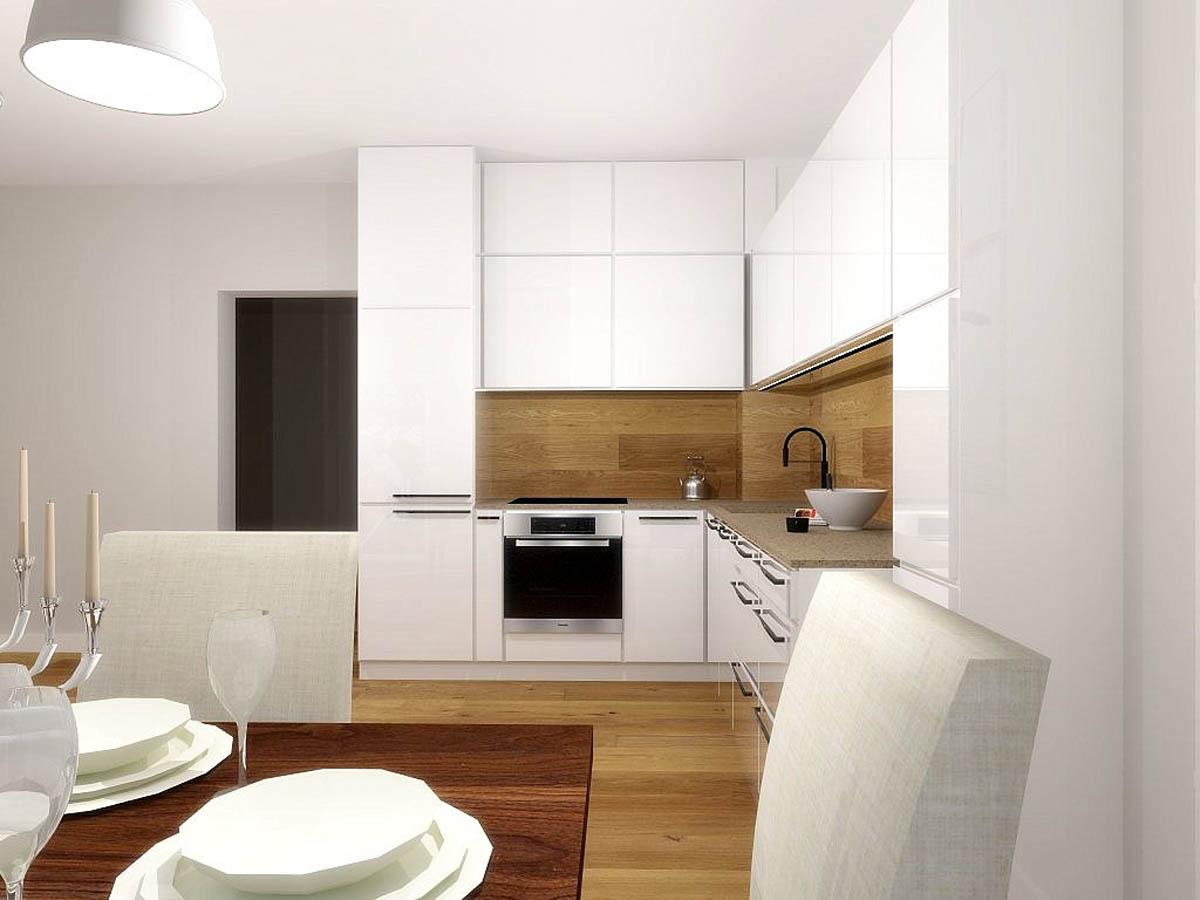 projekt bia�ej kuchni z drewnem mobiliani design bydgoszcz