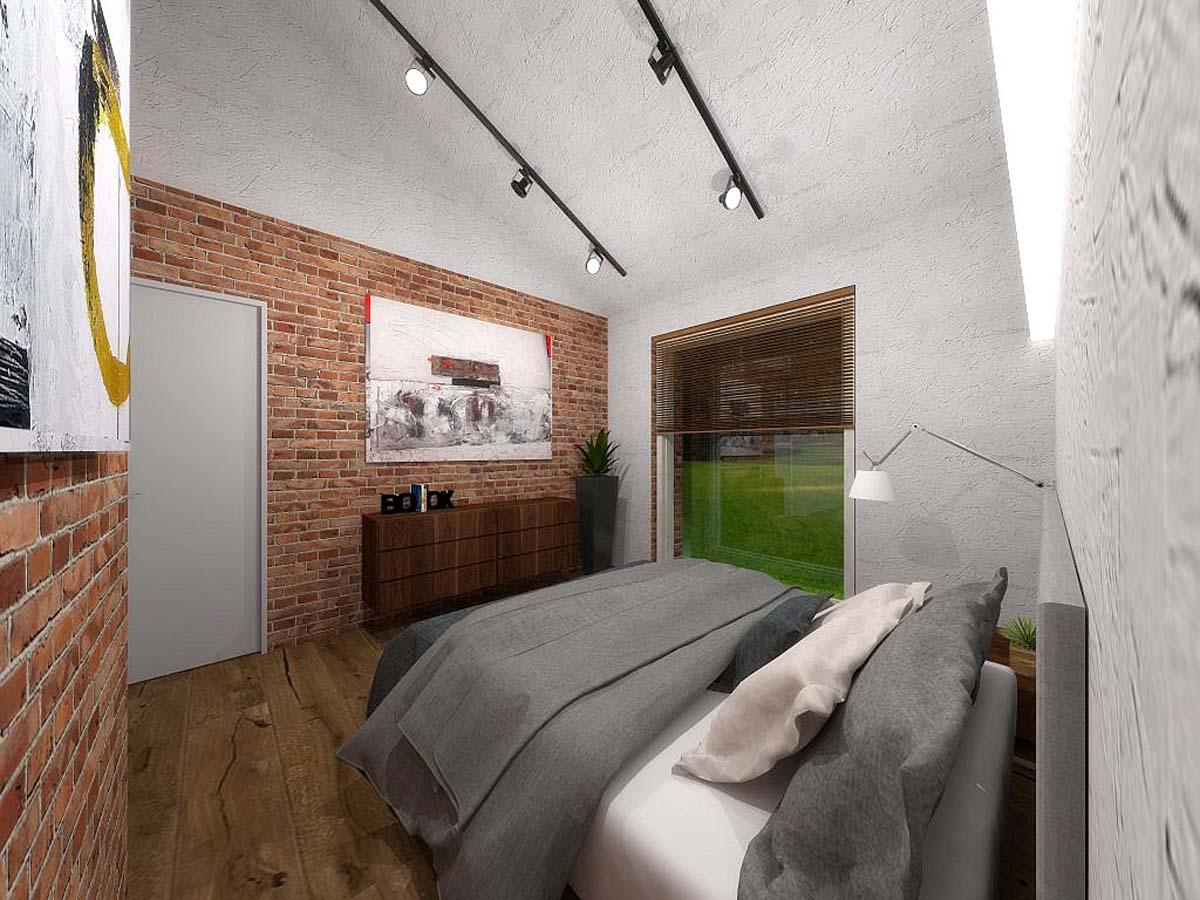 Projekt wnętrza sypialni z cegłą na ścianie - Mobiliani Design Bydgoszcz