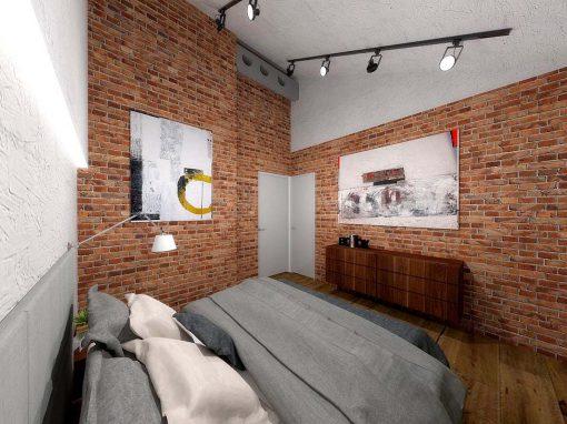 Projekt wnętrza sypialni z cegłą na ścianie