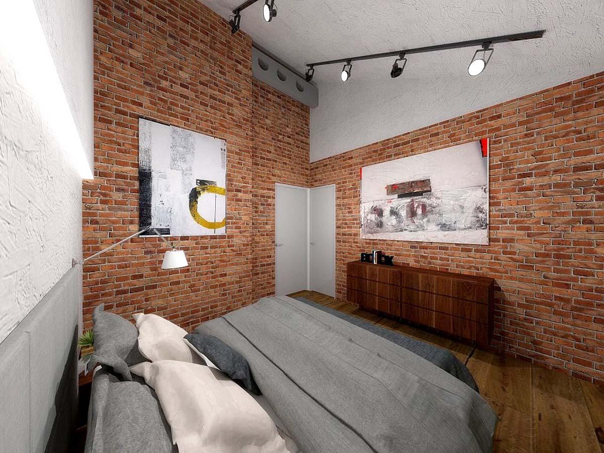 Projekt Wnętrza Sypialni Z Cegłą Na ścianie Mobiliani