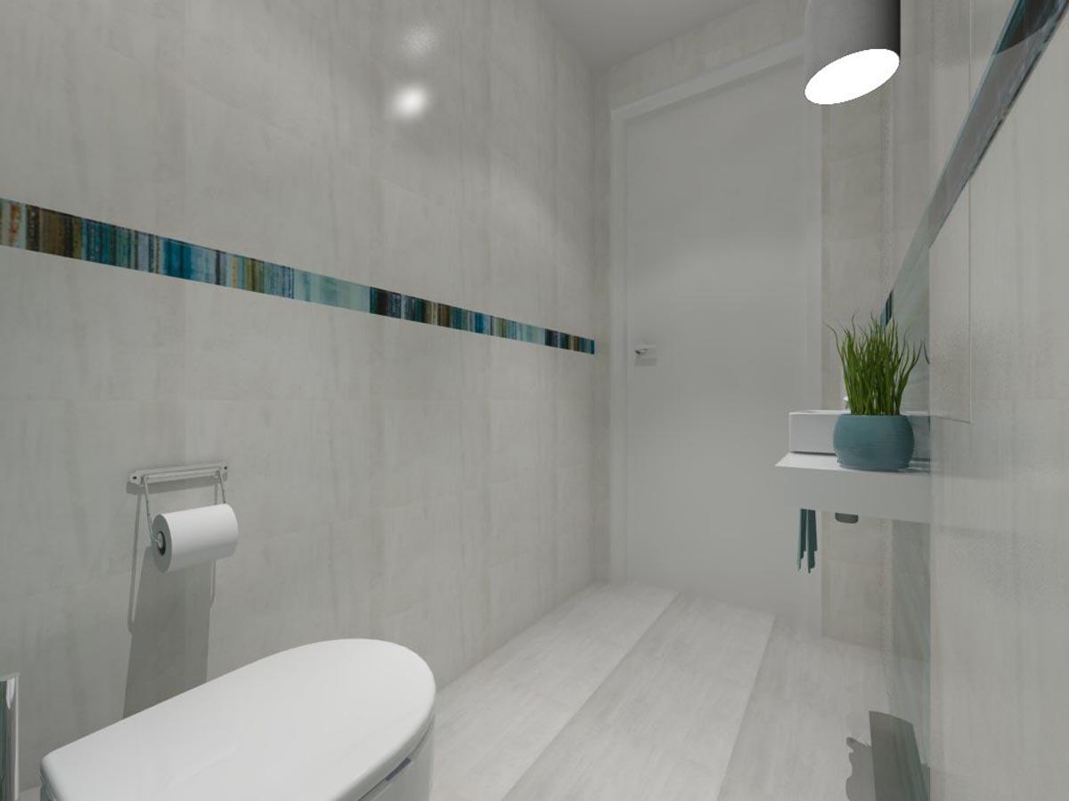 Projekt Małej Jasnej łazienki Mobiliani Design Bydgoszcz