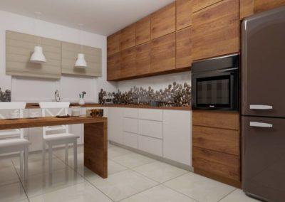 Kuchnia z drewnianymi frontami - zabudowa kuchenna w ciemnej tonacji