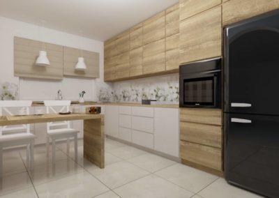 Kuchnia z drewnianymi frontami - zabudowa kuchenna w jasnej tonacji