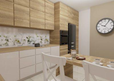 Kuchnia z drewnianymi frontami - stół