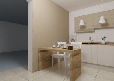 Kuchnia z drewnianymi frontami -wejście