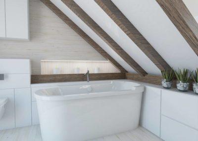 Łazienka w bieli - aranżacja z wanną