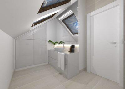 Projekt aranżacji wnętrza łazienki ze skosem